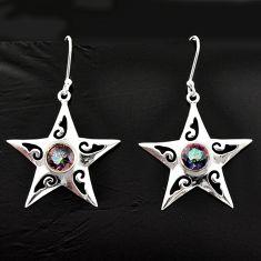 5.08cts multicolor rainbow topaz 925 sterling silver dangle star earrings d40048