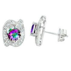 5.11cts multicolor rainbow topaz topaz 925 sterling silver stud earrings c10550