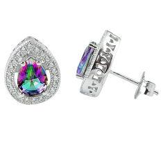 6.31cts multicolor rainbow topaz topaz 925 sterling silver stud earrings c10556
