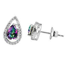 3.58cts multicolor rainbow topaz topaz 925 sterling silver stud earrings c22747