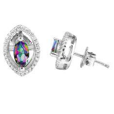 4.43cts multicolor rainbow topaz topaz 925 sterling silver stud earrings c23008