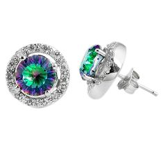 7.89cts multicolor rainbow topaz topaz 925 sterling silver stud earrings c23017