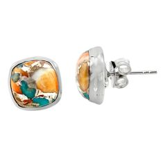 9.78cts multicolor spiny oyster arizona turquois 925 silver stud earrings r43859