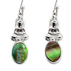 3.03cts natural abalone paua seashell 925 silver buddha charm earrings r48237
