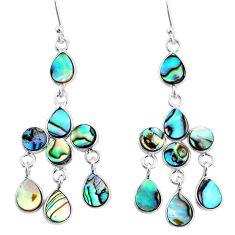 10.32cts natural abalone paua seashell 925 silver chandelier earrings t4668