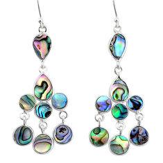 12.12cts natural abalone paua seashell 925 silver chandelier earrings t4678