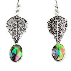 2.96cts natural abalone paua seashell 925 silver deltoid leaf earrings r48201