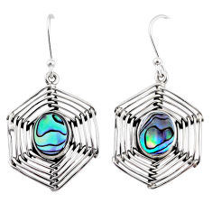 5.34cts natural abalone paua seashell 925 silver spider web earrings r67868