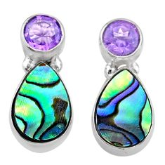 6.50cts natural abalone paua seashell amethyst 925 silver stud earrings t47295