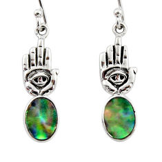 3.12cts natural abalone paua seashell silver hand of god hamsa earrings r48217
