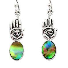 3.64cts natural abalone paua seashell silver hand of god hamsa earrings r48219