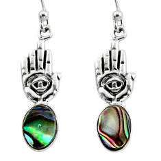 3.87cts natural abalone paua seashell silver hand of god hamsa earrings r48220