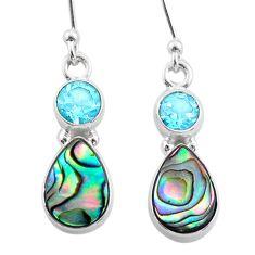 6.64cts natural abalone paua seashell topaz 925 silver dangle earrings t47286