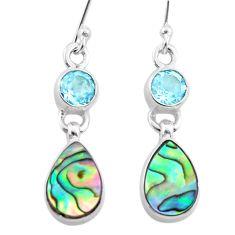 6.95cts natural abalone paua seashell topaz 925 silver dangle earrings t47289