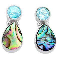 6.26cts natural abalone paua seashell topaz 925 silver stud earrings t47292