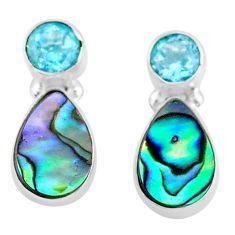 5.83cts natural abalone paua seashell topaz 925 silver stud earrings t47293