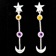 1.95cts natural amethyst citrine 925 silver dangle moon star earrings r71210