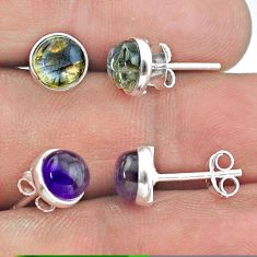 4.59cts natural amethyst labradorite 925 silver 2 pair studs earrings t50887