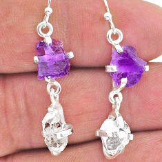 8.80cts natural amethyst raw herkimer diamond 925 silver earrings t15271