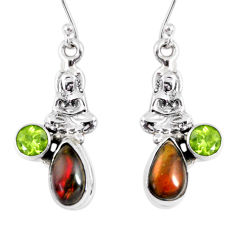 6.36cts natural ammolite (canadian) 925 silver buddha charm earrings r56242