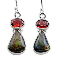 8.79cts natural ammolite (canadian) 925 silver dangle earrings jewelry t45288