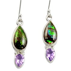11.18cts natural ammolite (canadian) 925 silver dangle earrings r42065