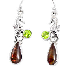 8.14cts natural ammolite (canadian) 925 silver dangle seahorse earrings r56241