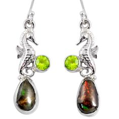 7.63cts natural ammolite (canadian) 925 silver dangle seahorse earrings r56243