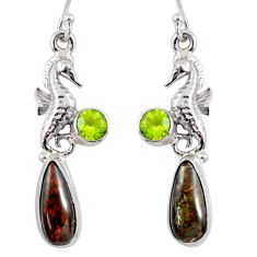 10.64cts natural ammolite (canadian) 925 silver dangle seahorse earrings r56250
