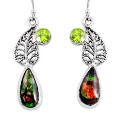 10.24cts natural ammolite (canadian) 925 silver deltoid leaf earrings r56251