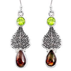 8.44cts natural ammolite (canadian) 925 silver deltoid leaf earrings r56255