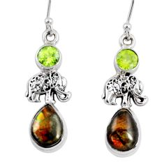 9.47cts natural ammolite (canadian) peridot silver elephant earrings r56260