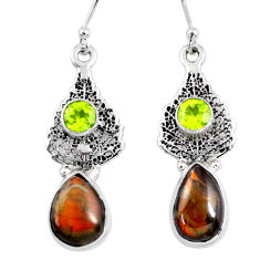 9.86cts natural ammolite (canadian) silver dangle deltoid leaf earrings r56256