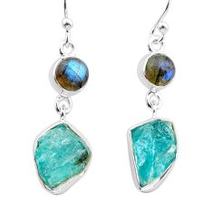 11.23cts natural apatite raw labradorite 925 silver dangle earrings t38225