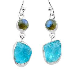 12.36cts natural apatite raw labradorite 925 silver dangle earrings t38231