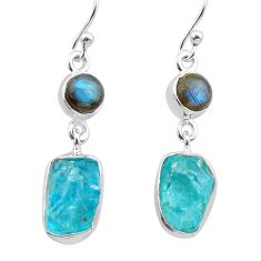 11.66cts natural apatite raw labradorite 925 silver dangle earrings t38234