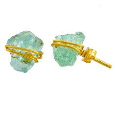 7.19cts natural aqua aquamarine raw fancy 14k gold handmade stud earrings r79787