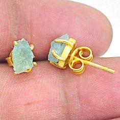 4.22cts natural aqua aquamarine raw 14k gold handmade earrings t7623