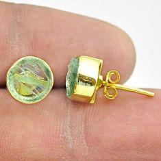 6.29cts natural aqua aquamarine raw 925 silver 14k gold stud earrings t52347