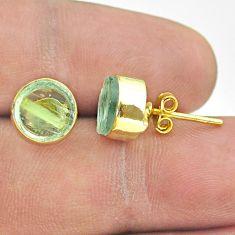 6.23cts natural aqua aquamarine raw 925 silver 14k gold stud earrings t52349