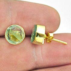 5.86cts natural aqua aquamarine raw 925 silver 14k gold stud earrings t52350