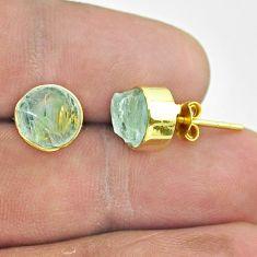 6.21cts natural aqua aquamarine raw 925 silver 14k gold stud earrings t52355