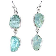 15.85cts natural aqua aquamarine rough 925 silver dangle earrings jewelry r55423