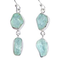 13.50cts natural aqua aquamarine rough 925 silver dangle earrings r55421