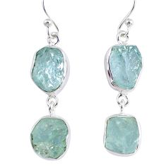 14.37cts natural aqua aquamarine rough 925 silver dangle earrings r55422