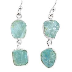 16.24cts natural aqua aquamarine rough 925 silver dangle earrings r55425