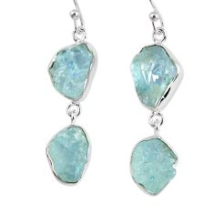 15.29cts natural aqua aquamarine rough 925 silver dangle earrings r55426