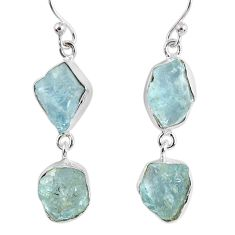 15.39cts natural aqua aquamarine rough 925 silver dangle earrings r55427