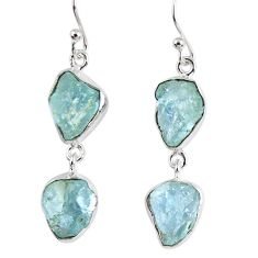 14.88cts natural aqua aquamarine rough 925 silver dangle earrings r55430