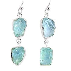 15.34cts natural aqua aquamarine rough 925 silver dangle earrings r55431